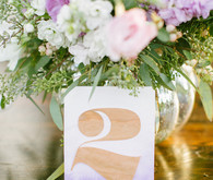 Purple ombre wood table number