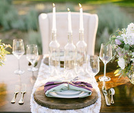 Lavender farm wedding inspiration place setting with candles
