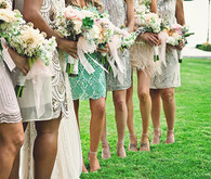 Bridesmaid's dresses and bouquets