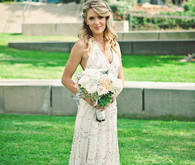 Bride in cream sequin wedding dress