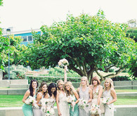 Teal and tan bridesmaid dresses