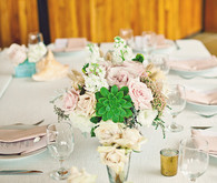 Pink and white succulent centerpiece