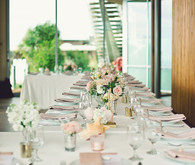 White and pink tablecape