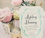 Aqua and pink wedding invitation