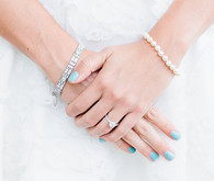Blue and white bridal accessories