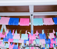 Pink and blue papel picado