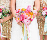 Bridesmaids colorful bouquet