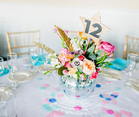 80's pop themed wedding tablescape