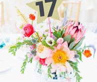 80's pop themed wedding table number