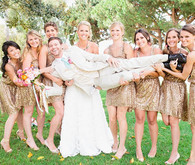 Bridesmaid in gold dresses