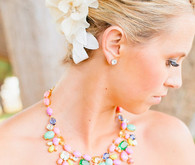Colorful necklace with flower headpiece