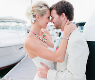 Beachside wedding portrait