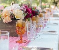 Southern California ranch wedding pink and orange tablescape