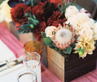 Southern California ranch wedding flower decor