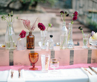 Southern California ranch pink and orange wedding tablescape