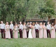 Plum and pink wedding party