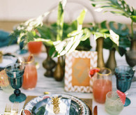 tropical wedding place setting