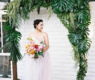 tropical wedding altar