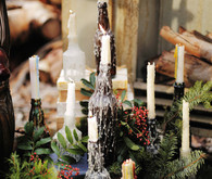 Rustic Christmas inspired candle sticks