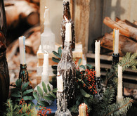 Rustic Christmas inspired candlesticks