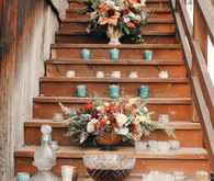 Rustic Christmas inspired stairway decor