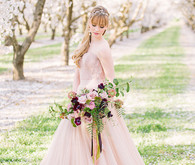 Pink BHLDN wedding dress
