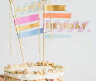 Naked layer cake with washi tape flag topper | See more on 100 Layer Cake