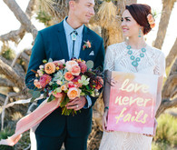 Watercolor wedding signage