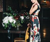 Black and red floral wedding dress