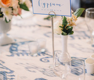 Elegant blue and white table number