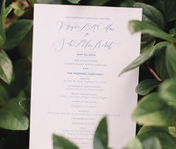 Elegant white and blue wedding invitation
