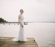 Elegant bride on dock