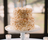 Gold and white cake with