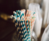 Blue and pink striped straws