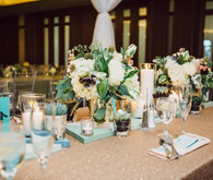 Gold and blue modern wedding tablescape