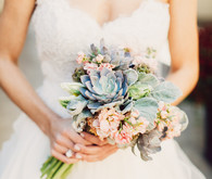 Light pink and green succulent bouquet