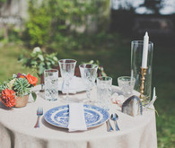Colorful Bohemian Big Sur Wedding Tablescape