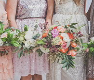 Colorful bohemian wedding bouquets