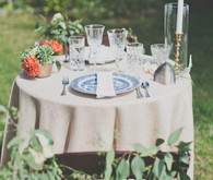Colorful bohemian wedding tablescape