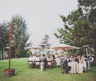 Outdoor bohemian wedding reception