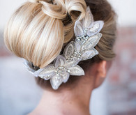Wedding Hairstyle with silver headpiece