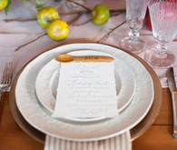 White and wood place setting