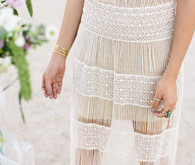 Sheer cream wedding dress