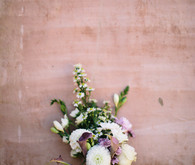 Bohemian white, purple and green bouquet