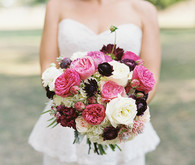 Pink and maroon bouquet