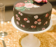 Brown and floral wedding cake