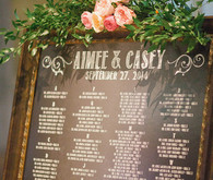 Modern chalkboard escort card display