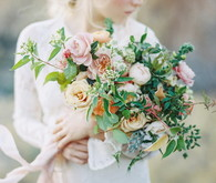 Green, pink and orange bridal bouquet