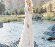 Outdoor bride and lace wedding dress