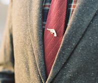 Red tie with plaid shirt